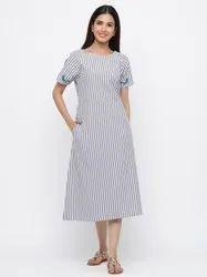 Jaipur Kurti Women Grey Stripe Flared Yarn Dyed Dress