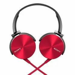 Wired Red Sony MDR-XB450AP On-Ear EXTRA BASS Headphones with Mic, 165 Gram
