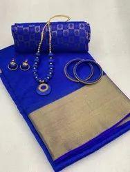 Thankar Mix Designer Tussar Silk Festive Wear Saree, 5.5 M (separate Blouse Piece)