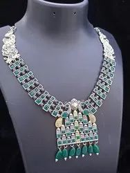 Party Wear Heavy Silver Oxidised Necklace Set, 80 Gm