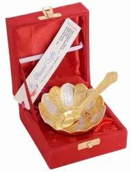 Anand Crafts Gold And Silver Plated German Silver Bowl Spoon Set