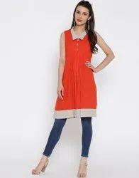 Jaipur Women Orange Self Woven Kurti