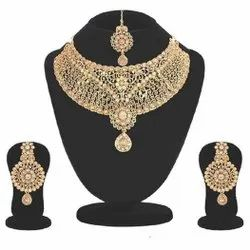 Alloy Golden Artificial Fancy Gold Plated Necklace Set, Size: Free