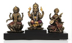 Nirmala Handicrafts Bronze Copper Finish LGS Statue Religious With Pawti God Idol For Temple Decor