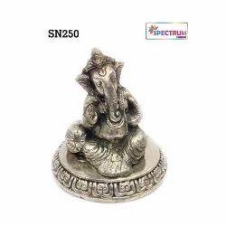SPECTRUMJAIPUR Ganesha German Silver Statue, Size: 5*5