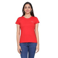 Round Red Ladies Cotton Lycra Half Sleeves T Shirts