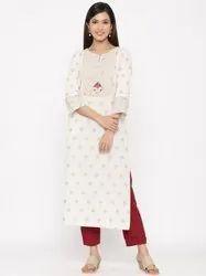 Jaipur Kurti Women Off White Gold Print Straight Cotton Blend Kurta With Pant