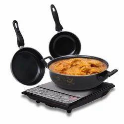Mild Steel Rynox Ceramic Coated Black Coating 3 pcs Cookware Set, For home,hotel.resturent