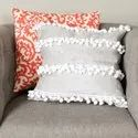 Fancy Pom Pom Fringe  Cushion Cover