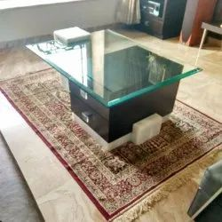 Brown(table) Wooden Glass Center Table