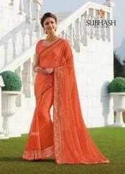 Party Wear Orange 32513-Designer Chiffon Butti Work Saree By Subhash Brand, Machine Made, Size: 6.3 Mr With Blouse