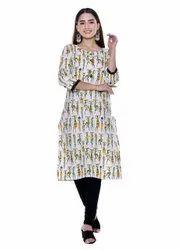 Formal Wear Straight Ladies Printed Kurti, Wash Care: Machine wash