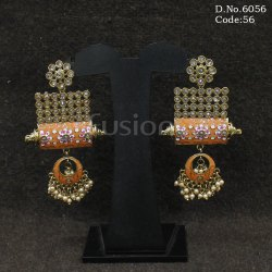 Designer Meenakari Polki Earrings