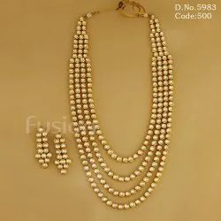 Golden Party Antique 4 Line Long Kundan Bridal Necklace Set, For Keep Away From Perfume & Water