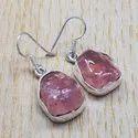 925 Sterling Silver Jewelry Rough Rose Quartz Gemstone Handmade Earring SJWE-121