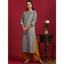 Janasya Women''s Grey Poly Silk Kurta With Palazzo(SET210)