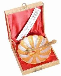 Anand Crafts Gold And Silver Plated German Silver Lotus Flower Shape Bowl Spoon Set