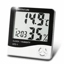 HTC Digital Thermo Hygrometer With Clock & Digital Table Clock & LED Alarm Clock & Humidity Clock