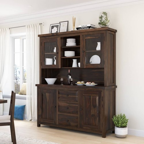 Dining Buffets With Hutch Furniture Boutiq Gelena Rustic Reclaimed Teak Wood Glass Door Dining Hutch Cabinet Manufacturer From Jodhpur