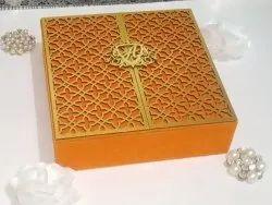 Red MDF Velvet With Laser Wedding Invitation Box, 2 Leaflet