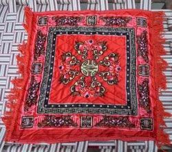 Red Pooja Aasan in Velvet for puja and Meditation, Mattress Met, For Home