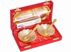 Anand Crafts Gold And Silver Bowl Spoon Tray Set