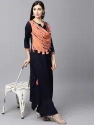 Straight Black, Peach Navy Blue Designer Solid A Line Cotton Kurti