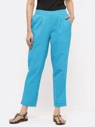 Jaipur Kurti Women Turquoise Solid Cotton Slub Pants