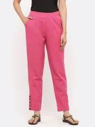Jaipur Kurti Women Magenta Solid Cotton Slub Pants