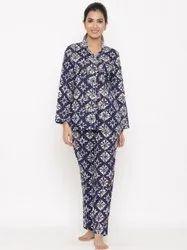 Jaipur Kurti Women Blue Geometric Print Night Suit