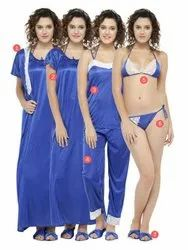 Solid Blue Pack Of 7 Pcs Lace Satin Bridal Nighty Lingerie Nightwear Set