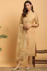 Janasya Women''s Gold Poly Chanderi Kurta With Pant and Dupatta(J0277)