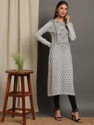Janasya Women''s Grey Woolen Kurta(J0262)