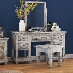 Furniture BoutiQ Kodiak Brass Inlay And Distressed Mango Wood 3-Piece Vanity Table Set