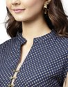 Jaipur Kurti Women Navy Blue Geometric Straight Rayon Shrug