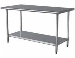 Powder Coated Stainless Steel Working Table, For Home, Number of Shelves: 2