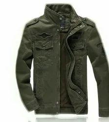 Full Sleeve Casual Wear Mens Olive Green Denim Jacket, Size: M-XL