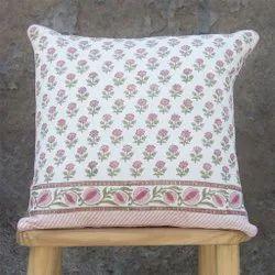 Green Floral Motif Parkel Cotton Cushion Cover