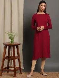 Janasya Women''s Maroon Woolen Kurta(J0264)