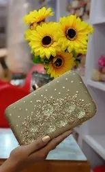 Embroidered Synthetic Women Golden Quilted Purse Lattice Clutch