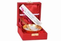 Anand Crafts Silver And Gold Plated Bowl Spoon Set