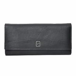 Hawai Black Genuine Leather Wallet For Women