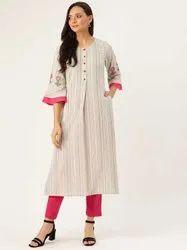 Jaipur Kurti Women Off White & Rani Stripe Flared Blended Kurta With Pants