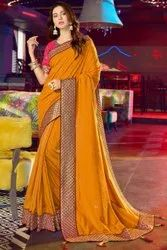 Party Wear Embroidery Fancy Ladies Saree, 5.5 m (separate blouse piece)