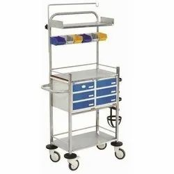 Stainless Steel Blue CRASH CART, Size: 760mm