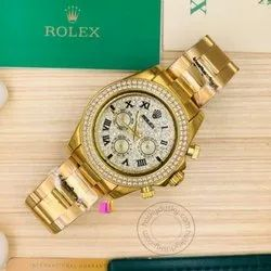 Men Artificial Diamonds Cosmograph Diamond Dial Gold Watch, For Personal Use