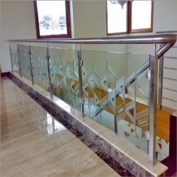 Silver,Transparent Aluminium Glass Stair Railing, For Home