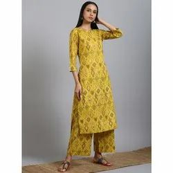 Janasya Women''s Yellow Cotton Kurta With Palazzo (Set228)