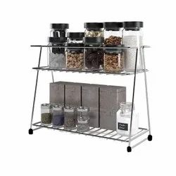 Stainless Steel 2-Tier Trolley Spice Container Organizer