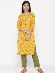 Jaipur Kurti Women Yellow Floral Straight Cotton Kurta